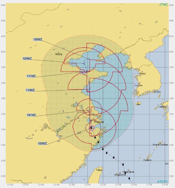 Prognozowana trasa tajfunu Lekima (hurricanezone.net)