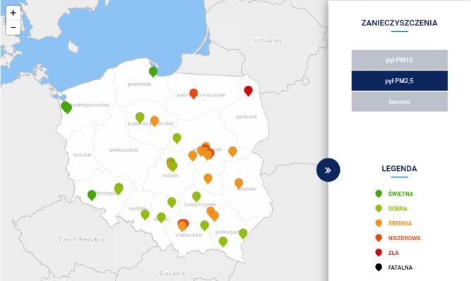 Stężenie pyłu PM2,5 w Polsce około godz. 15