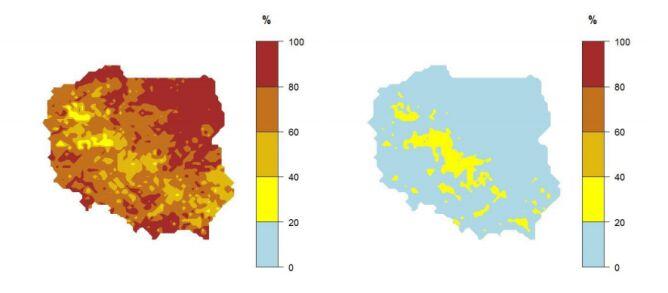 """Prawdopodobieństwo wystąpienia klasy """"poniżej normy"""" (mapa po lewej stronie) i """"powyżej normy"""" (mapa po prawej stronie) dla średniej temperatury powietrza w styczniu 2020 r. (IMGW-PiB)"""